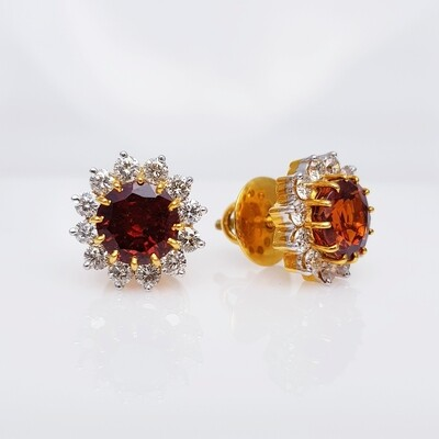 Garnet and Diamond Tops in 14K Gold