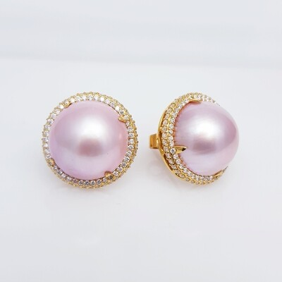 Pink Pearl and Diamond Tops in 18K Gold
