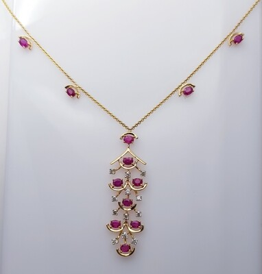 Ruby and Diamond Pendant Chain in 18K Gold
