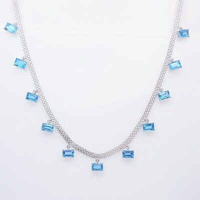 Blue Topaz Chain in 18K White Gold