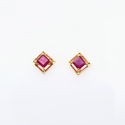 Square Ruby Studs in 18K Gold