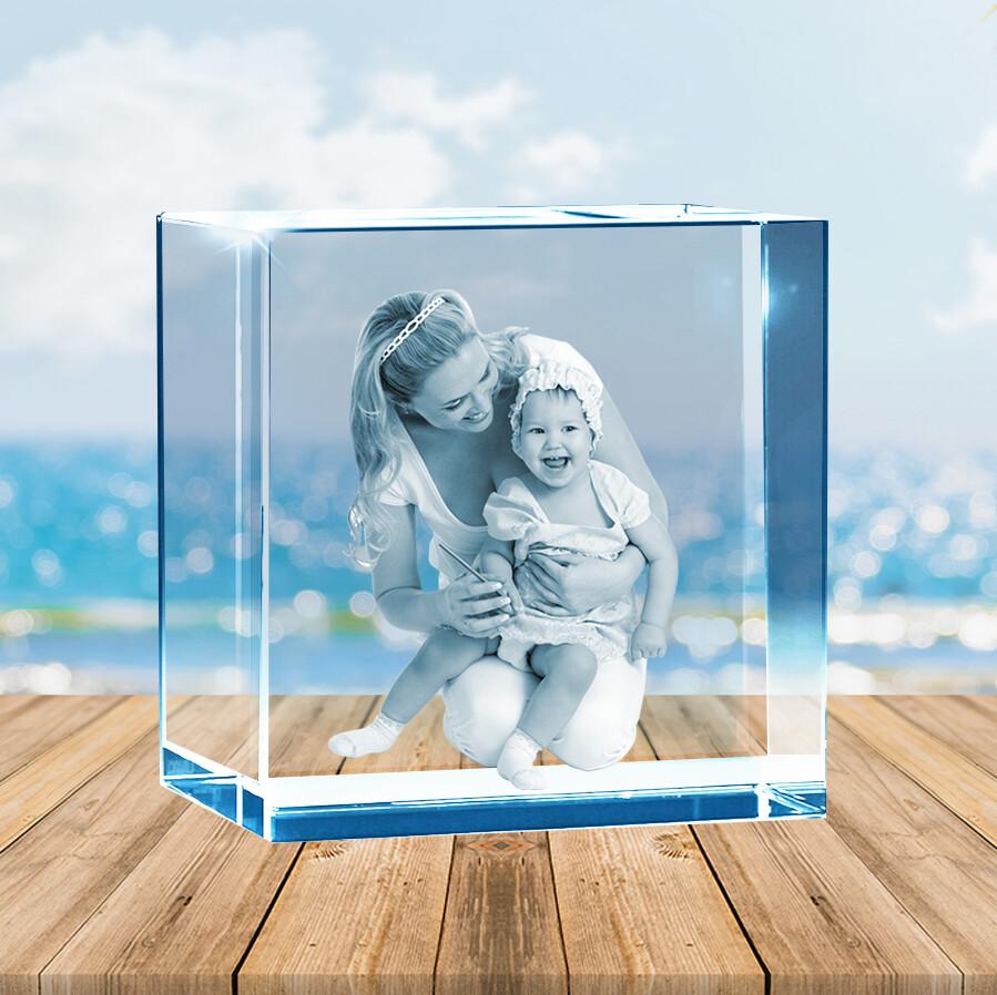 3D Crystal  Block  8cm x 8cm x 8cm