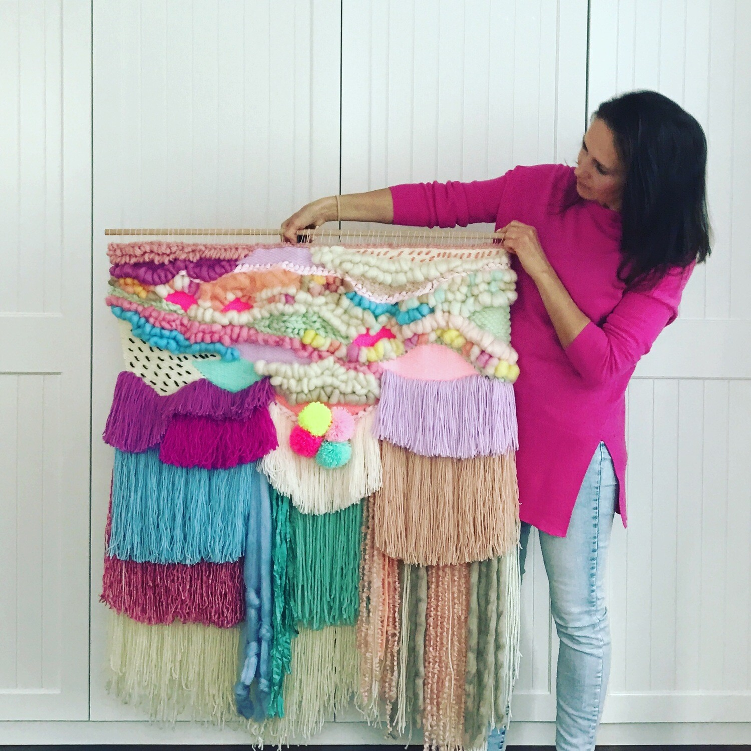 Large woven wall hangings  80 cm wide