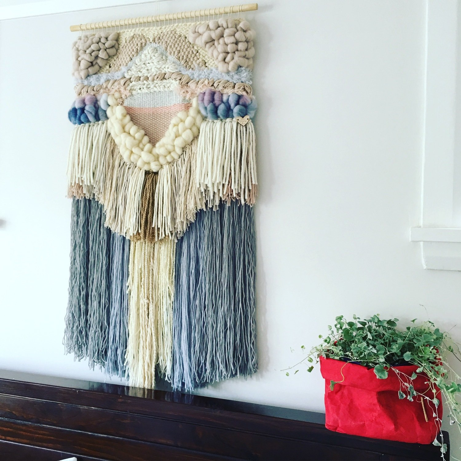 Large woven wall hanging 45 cm wide