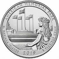США 25 центов, 2019г. 47-й Американский мемориальный парк