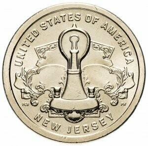 США 1 доллар, 2019 год. Американские Инновации - Лампа накаливания Эдисона (Нью Джерси)