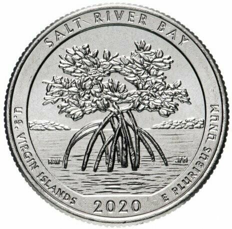 США 25 центов, 2020г. 53-й Национальный исторический парк и экологический заповедник Бухта Солёной реки