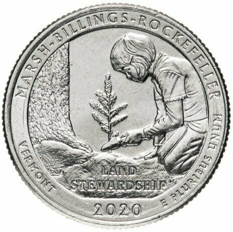 США 25 центов, 2020г. 54-й Национальный исторический парк Рокфеллера
