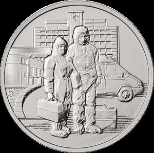 25 рублей Медики 2020г. «Памятная монета, посвященная самоотверженному труду медицинских работников»