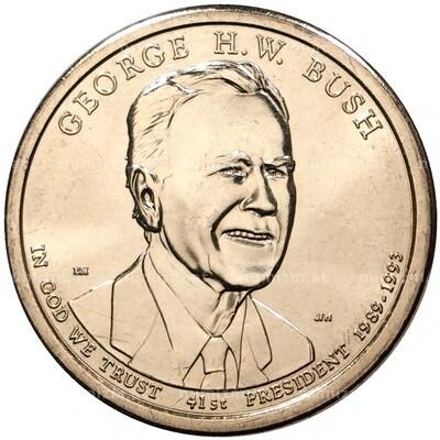США 1 доллар 2020 г. 41-ый президент Джордж Буш-старший