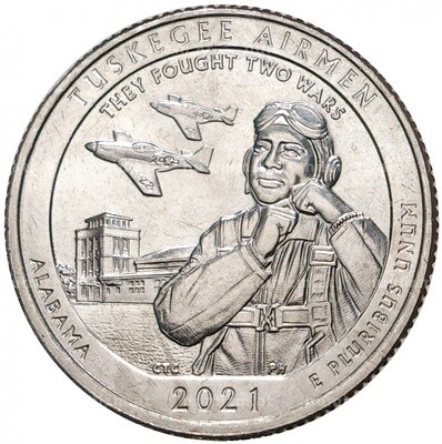 США 25 центов, 2021г. 56-й Национальный исторический парк Пилоты Таскиги