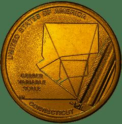 США 1 доллар, 2020 год. Американские Инновации - Коннектикут. Переменная шкала Гербера.