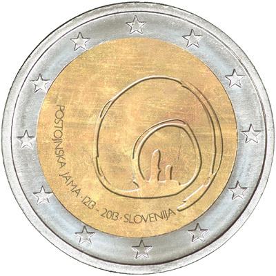 2 евро Словения 2013г. 800 лет со дня открытия пещеры Постойнска-Яма