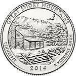 США 25 центов, 2014г. 21-й национальный парк Грейт-Смоки-Маунтинс