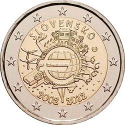 2 евро Словакия 2012г. Серия «10 лет наличному обращению евро»
