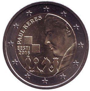 2 евро Эстония. 2016 г. 100 лет со дня рождения Пауля Кереса.