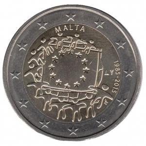2 евро Мальта. 2015 г. 30 лет Флагу Европы.