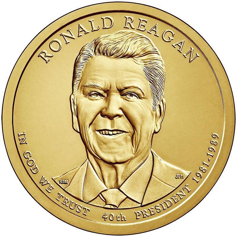 США 1 доллар, 2016 год. 40-й президент США. Рональд Рейган