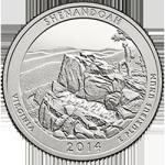 США 25 центов, 2014г. 22-й национальный парк  Шенандоа