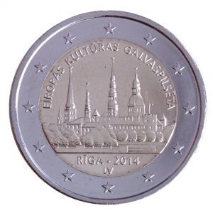2 евро Латвия 2014 г. Рига - Культурная столица Европы