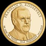 США 1 доллар, 2014 год. 32-й президент Франклин Рузвельт.