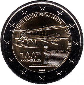 2 евро Мальта. 2015 г. 100 лет первому авиаполёту с Мальты.