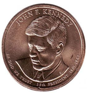 США 1 доллар, 2015 год. 35-й президент США. Джон Кеннеди.