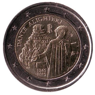 2 евро Италия. 2015 г. 750 лет со дня рождения Данте Алигьери.