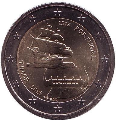 2 евро Португалия. 2015 г. 500-летие открытия Португальского Тимора.