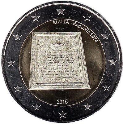 2 евро Мальта. 2015 г. Провозглашение республики.