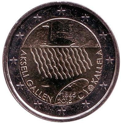 2 евро Финляндия. 2015 г. 150 лет со дня рождения Аксели Галлен-Каллела.