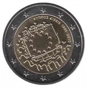 2 евро Кипр. 2015 г. 30 лет Флагу Европы.