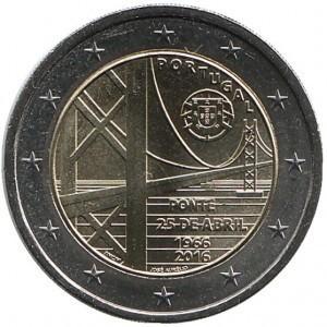 2 евро Португалия. 2016 г. Мост имени 25 апреля.