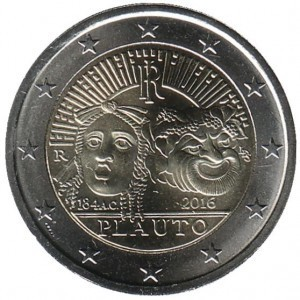 2 евро Италия. 2016 г. Плавт.