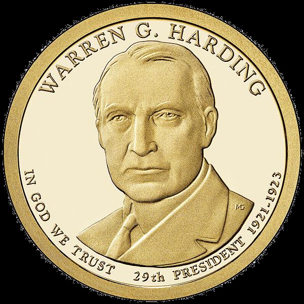 США 1 доллар, 2014 год. 29-й президент Уоррен Хардинг.