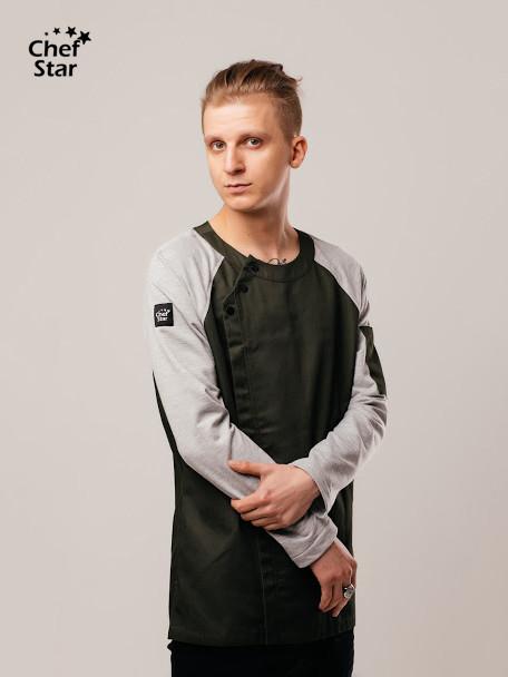 BBQ Chef Jacket, green khaki/slate gray