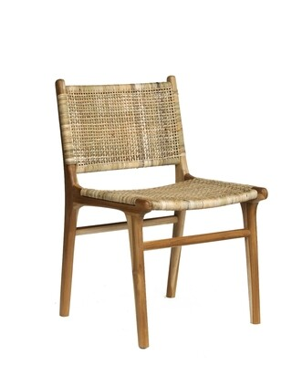 Rattan and Teak Dining Chair