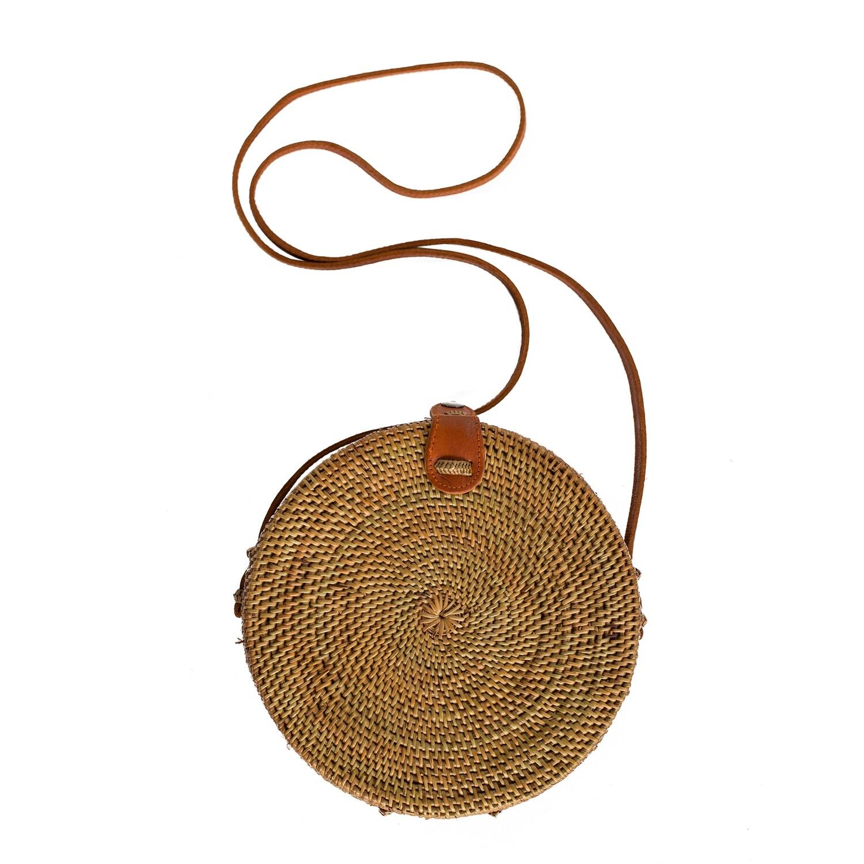 Rattan Handbag (Leather Strap)