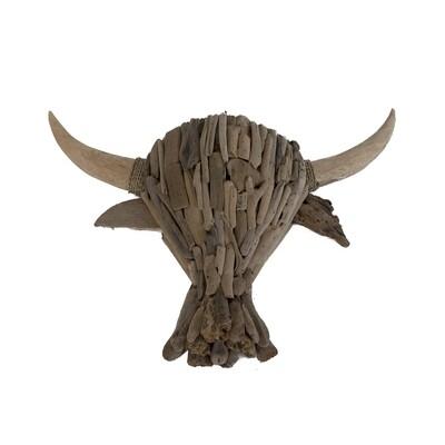 Driftwood Bull Wall Art (72cm)