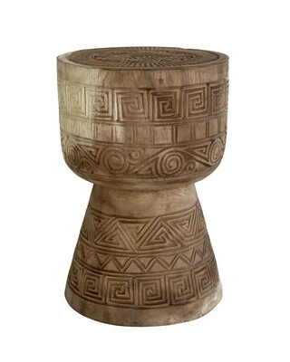 50cm Hand-Carved Side Table