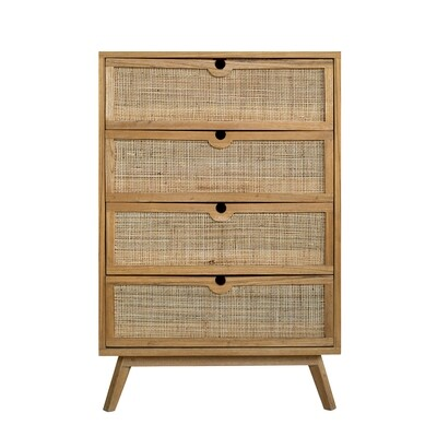 Handmade 150cm Teak and Rattan Cupboard