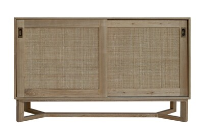 Handmade 150cm Teak and Rattan Cupboard