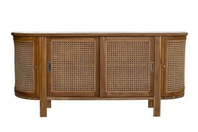 Handmade 160cm Teak and Rattan Cupboard