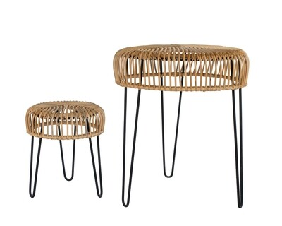 Rattan Cafe Table and Chair