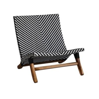 Teak Black and White Lazy Chair (PVC)