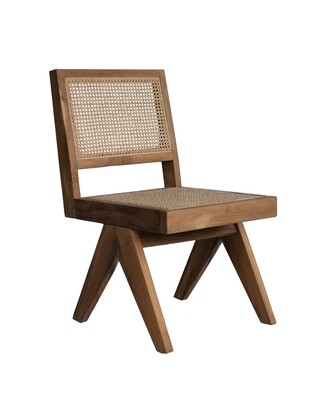 Teak and Rattan Dining Chair
