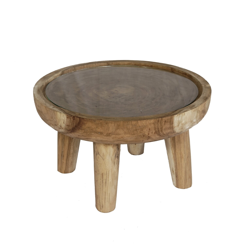 Suar Wood Side Table 3 (glass)