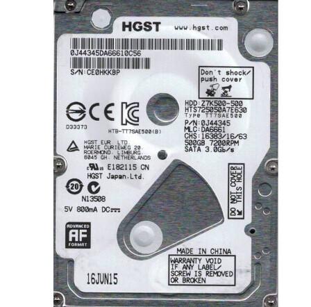 Hitachi Travelstar 500GB SATA Hard Drive | 0J47815 | 678309-005
