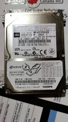 19K1692 | IBM 40GB 5400RPM Hard Drive | 19K1693 l MK4019GAXB