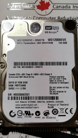 Western Digital 120GB 5400RPM Internal Hard Drive | WD1200BEVE-00WZT0
